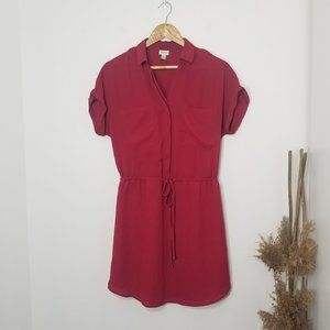 Dynamite | Red Mini Shirt Dress Cinch Waist Small